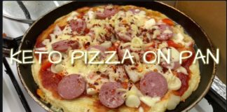 NO BAKE KETO PIZZA ON PAN IN JUST 5 MINS.   QUICK AND EASY THIN CRUST HUNGARIAN PIZZA