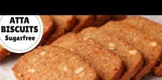 SUGARFREE ATTA BISCUIT Recipe In Kadhai & Oven   Whole Wheat Cookies (Hindi)