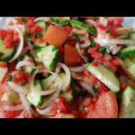 Cucumber tomato and onion salad/Healthy vegetable salad/Simple South African salad for braai