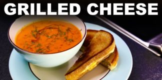 Classic grilled cheese sandwich and tomato soup