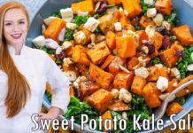 EASY Kale & Sweet Potato Salad Recipe!! With Almonds, Cranberries & Cheese!!