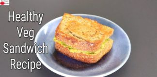 Healthy Veg Sandwich Recipe - Masala Bread Sandwich Toast For Breakfast | Skinny Recipes