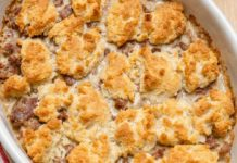 Keto Recipe - Sausage Gravy and Biscuit Bake