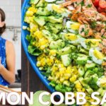 Healthy Cobb Seafood Salmon Salad with Easy Salad Dressing