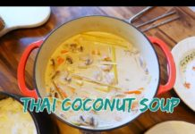 tom kha gai tofu ( VEGETARIAN ) | ต้มข่าไก่ | thai coconut soup