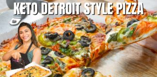 DETROIT STYLE PIZZA! Best Keto Pizza & Veggie Pizza Recipe That's Only 2 Carbs Per Slice