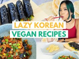 LAZY KOREAN RECIPES (VEGAN) / gochujang fried rice, mini kimbap, sweet potato jeon