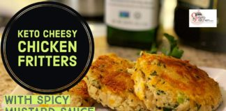 Keto Cheesy Chicken Fritters with Spicy Mustard Sauce #Ketorecipes #lowcarbrecipes #ketolifestyle