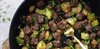 Keto Steak & Zucchini Skillet Recipe [One Pan Meal]